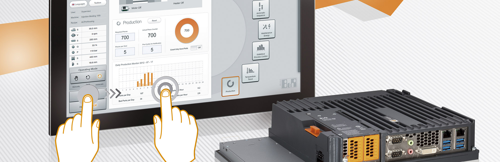 Hartfiel Provides Industrial PCs and touch screen Interfaces